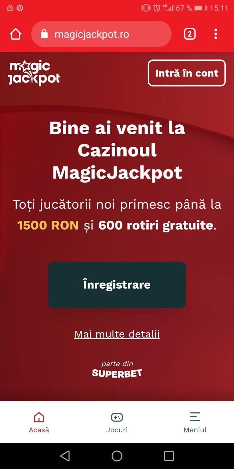 magicjackpot casino pe telefonul mobil